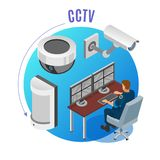 Security Systems Isometric Background stock illustration