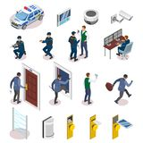 Security Systems Isometric Icons royalty free illustration