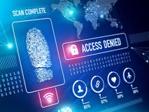 Security Technology Biometrics Scan. Security Technology and ID verification with Fingerprint Scan Concept Stock Photo