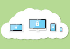 Security technology cloud background. Security technology on cloud background Stock Photos