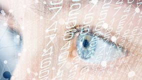 Security technology scanning human eye concept. Future science people digital identity royalty free stock photography