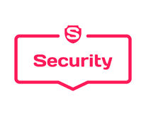 Security template dialog bubble, flat style on white background. Basis with shield icon for various word of plot. Vector. Security template dialog bubble in flat Stock Photos