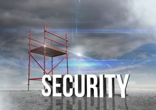 Security Text with 3D Scaffolding and cloudy sky Stock Photography