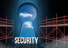 Security Text with 3D Scaffolding and keyhole sky Stock Photography