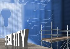 Security Text with 3D Scaffolding and lock interface. Digital composite of Security Text with 3D Scaffolding and lock interface Royalty Free Stock Image