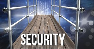 Security Text with 3D Scaffolding and space interface. Digital composite of Security Text with 3D Scaffolding and space interface Stock Images