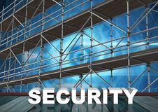 Security Text with 3D Scaffolding and technology interface. Digital composite of Security Text with 3D Scaffolding and technology interface Stock Photo