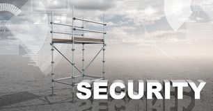 Security Text with 3D Scaffolding and technology interface landscape Royalty Free Stock Photos