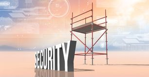 Security Text with 3D Scaffolding and technology interface landscape Stock Photo