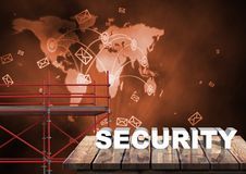 Security Text with 3D Scaffolding and world map interface network Royalty Free Stock Photos