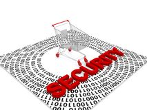 Online shopping Security. Text 'security' in uppercase red letters placed on a surface with zeros and ones and centrally placed shopping trolley, white Royalty Free Stock Images