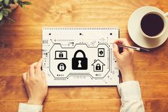 Security theme with a person writing in a notebook royalty free illustration