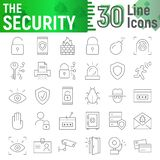 Security thin line icon set, protection symbols collection, vector sketches, logo illustrations, defense signs stock image