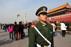 Security in Tiananmen square in Beijing China Royalty Free Stock Image