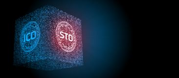 Security Token Offering STO is replacing Initial Coin Offering ICO as a new proposing technology for crypto currency. Glowing led text over computer circuit vector illustration