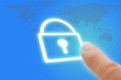 Security Touch Screen Finger Pointing to Padlock I Stock Images