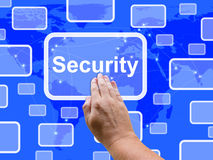 Security Touch Screen Shows Privacy Encryptions And Safety Royalty Free Stock Photos