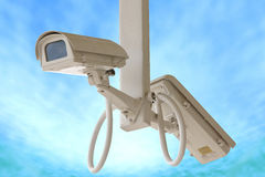 Security twin camera isolated on blue sky background. Stock Images