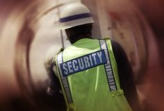 Security on urban street Royalty Free Stock Photo