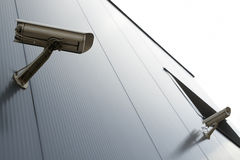 Security video camera. On the wall Royalty Free Stock Photography