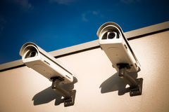 Security video cameras. On a wall Stock Image
