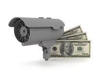 Security - video surveillance camera and dollar bills. Video surveillance camera and dollar bills Stock Images