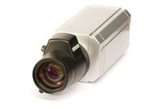 Security videocam. Security videocam watch down. Isolation on the white Stock Photography