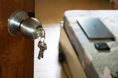 Open door room house with keys royalty free stock images