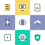 Security and web development pictogram icons set. Website development services, cloud computing connection, network security, user interface coding and Royalty Free Stock Photo