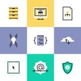 Security and web development pictogram icons set royalty free illustration