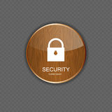 Security wood application icons Royalty Free Stock Image