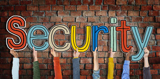 Security Word Concepts and Brick wall Background Stock Photo