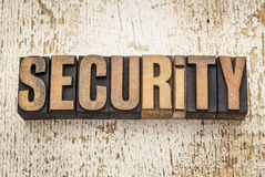 Security word in wood type Royalty Free Stock Image