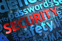 Security. Wordcloud Concept. Security - Wordcloud Concept. The Word in Red Color, Surrounded by a Cloud of Blue Words stock photography