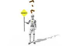 Security worker. Crash test dummie with a signal of security over a white background Stock Illustration