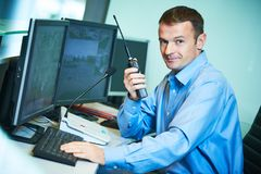 Security worker during monitoring. Video surveillance system. Stock Images