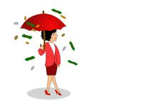 Security2. Woman standing with open umbrella with money raining down. Concept of saving for a secure future Royalty Free Stock Image