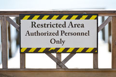 Securty Sign - Restricted area Stock Photography