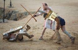 Secutor-Gladiator auf dem Sand Lizenzfreie Stockfotos