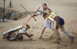 Secutor gladiator on the sand Royalty Free Stock Photos