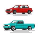 Sedán del coche y una camioneta pickup en un fondo blanco Illus del vector Stock de ilustración