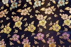 Seda azul con el modelo floral Imagen de archivo libre de regalías