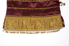 Seda indiana com trabalho do ouro/zari Fotos de Stock Royalty Free
