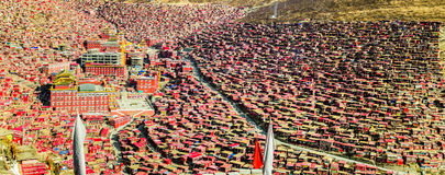 Seda Larong Wuming buddhism college. Is in Seda,Sichuan, China which is the largest Tibetan-Buddhism Institute in the world Royalty Free Stock Photo