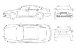 Sedan car in outline. Business sedan vehicle template vector isolated on white. View front, rear, side, top. All Royalty Free Stock Photography