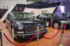 Sedan för röd flagga - president Kina med bilen Arkivfoto