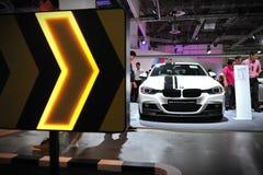 Sedan för sportar för upplaga för kapacitet för BMW 3 serie M på skärm på BMW världen 2014 Royaltyfri Fotografi