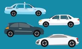 Sedan för taxi för sida för illustration för samling för bilsymbolsuppsättning Arkivfoton