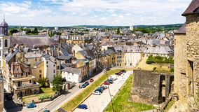 View of square from rampart of Chateau de Sedan. SEDAN, FRANCE - JUNE 30, 2010: above view of square Place du Chateau from rampart of castle Chateau de Sedan in royalty free stock photos