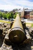 Old cannon on rampart of Chateau de Sedan. SEDAN, FRANCE - JUNE 30, 2010: old cannon on rampart of castle Chateau de Sedan in summer day. Sedan is a commune in Stock Image